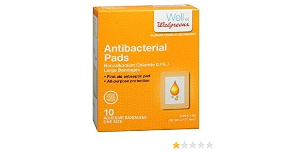 Walgreens Antibacterial Adhesive Pads, 3 x 4 inches 10 ea (Pack of 2) by  Walgreens