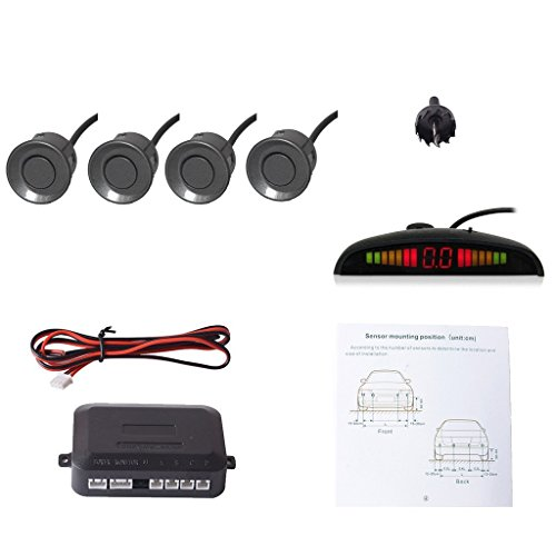 EKYLIN Car Auto Vehicle Reverse Backup Radar System with 4 Parking Sensors Distance Detection + LED Distance Display + Sound Warning (Gray Color)