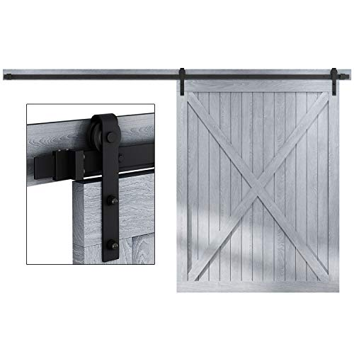 EaseLife 10 FT Heavy Duty Sliding Barn Door Hardware Track Kit-Ultra Hard Sturdy | Sliding Smooth Quiet | Easy Install | Fit 54