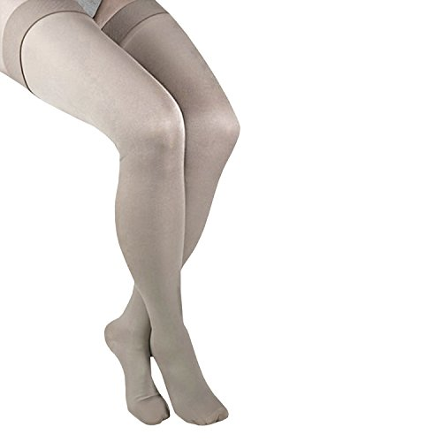 ITA-MED Graduated Firm Compression Thigh Highs (25-30 mmHg), Microfiber, SMALL, BEIGE