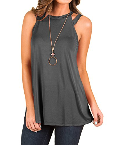 Strappy Tank Shirt Top - INFITTY Women's Summer Loose Strappy High Neck Tank Tops Casual Sleeveless Flowy Shirt Blouse Dark Grey X-Large
