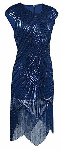 Jaycargogo Des Femmes De Longues Robes De Bal De Manches 1920 Perles Robe Garçonne Déco Art Nouveau Bleu Sequin