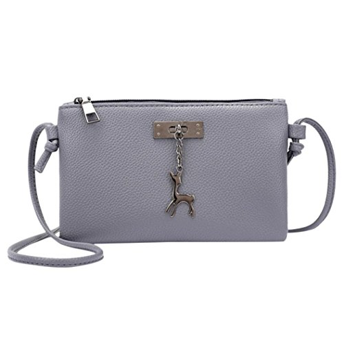 Leather Coin Womens Gray Bag Purses Dark Messenger Deer Bags Inkach Handbags Small Shoulder Crossbody qwZOExzxRX