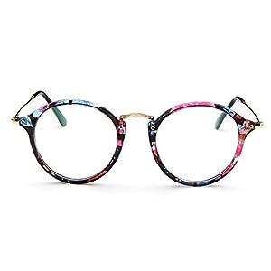 Mingus Women Fashion Round Glasses Frames Clear Lens Metal Temple Vintage Unisex Eyeglasses - blue flower