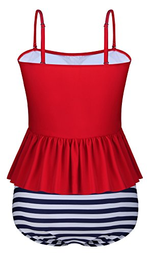 Aixy Mujer Vintage Tankini Ruffles Strap Traje de Baño Flounce Cuello Halter Bikinis Rojo