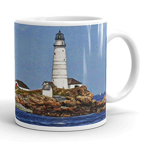 Boston Harbor Lighthouse - Boston Harbor Lighthouse Mug. Unique, Limited Edition Oil Painting Printed on Coffee, Tea Cup. Blue Sky, Rocks, Water. Perfect Souvenir Mug or Gift For Any Boston Lover, Men, Women. 11 ounces.