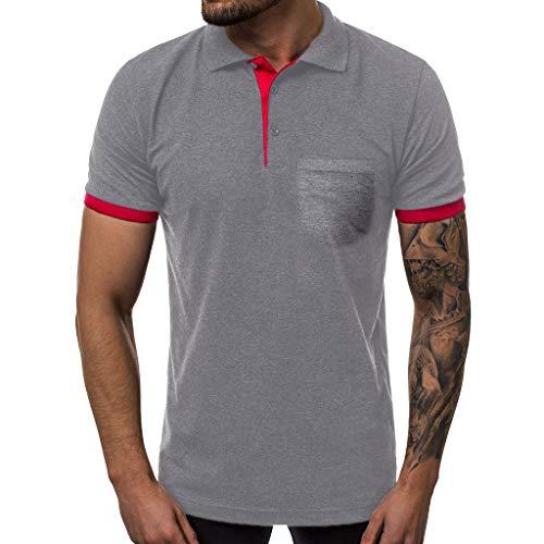 Bsjmlxg Mens Fashion Blouse Shirts Fashion Men's Summer Casual Slim Fit Patchwork Short Sleeve Top Blouse Dark Gray