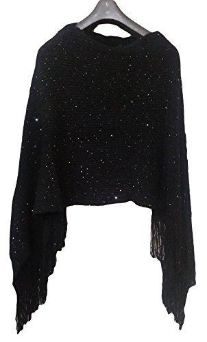 22e5c6cd5 Miss U Women's Woolen Poncho Top (Lsh_Shineblack_Black_Free Size ...