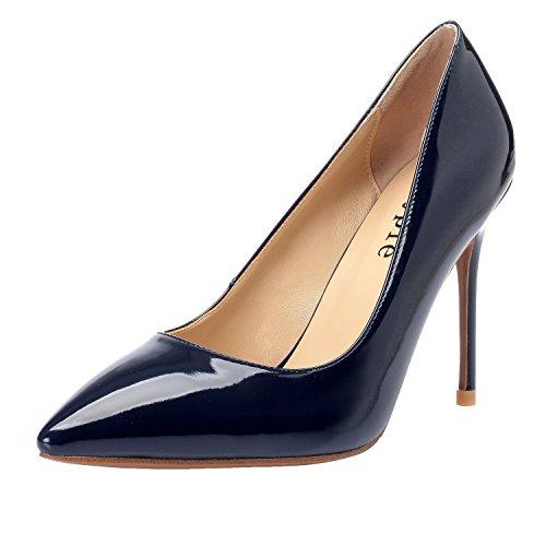 Dress Sexy Donna Chiuso 4 Pollici Punta Brevetto Blu a Tacco Spillo a Stilettos Classic MAYPIE 7awd5q7
