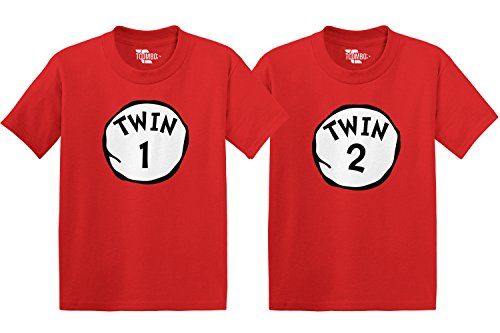 Twin 1 & Twin 2 Toddler/Infant T-Shirt 2 Pack (Red/Red, 2T/24 Months)