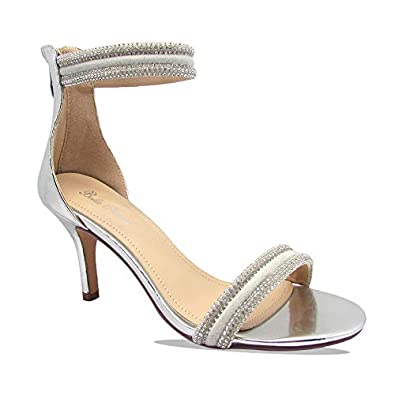Stylish /& Comfort Womens Elegant Patent Leather//Sparkling Rhinestone Open Toe with Single Band//Bands Ankle Strap Chunky Mid Heel Party Sandals