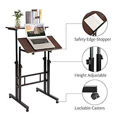 Qwork Mobile Stand up Height Adjustable Computer Desk Home Office Computer Workstation Tilting Table with Dual Surface Sit-Stand Wheels Desk Ergonomic Desk