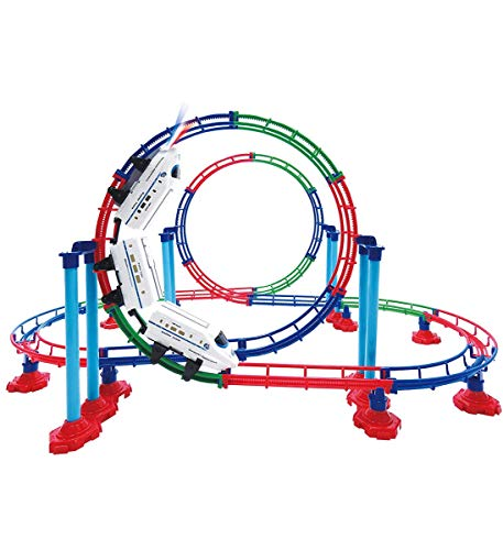 - Mozlly Battery Powered High Speed Grand Bullet Roller Coaster Train 112 Pc Loop Race Track - Operated Car Railway Building Play Set Boys, Girls, Kids 15