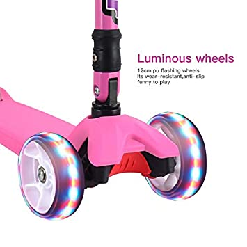 Scooter for Kids, 3 Wheel Scooter for Kids with Folding T-Bar, Adjustable Height and Flashing PU Wheels, Lean to Steer for Children from 2-14 Year-Old