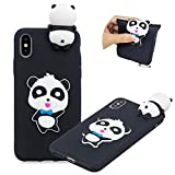"Matte Cute 3D Touch Cartoon Animal Cover for iPhone XS Max 6.5"", MOIKY Candy Colour Soft Silicone TPU Bumper Back Case iPhone XS Max 6.5"" Gel Rubber Shell Skin Shockproof Protective Case Cover - Chic Panda"
