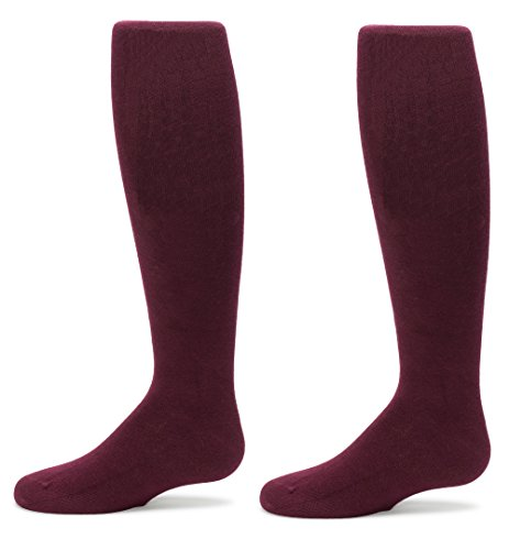 Trimfit Big Girls 2-pair Cotton Cable (Comfortoe) Tights (6-8, Maroon) Textured Cotton Tights