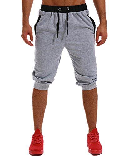 (MODCHOK Men's 3/4 Jogger Pants Sport Shorts Sweatpants Elastic Capri Sweats Running Trouser Slim Fit Tracksuit Light Grey 2XL)
