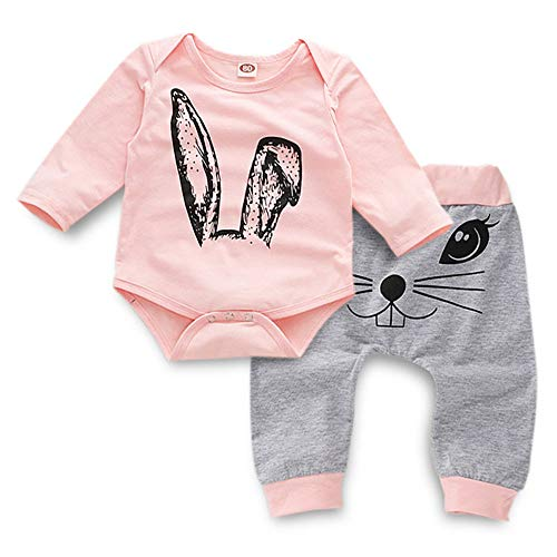 Toddler Easter Clothes Infant Baby Girl Bunny Print Long Sleeve Romper + Sweatsuit Pants Boy Spring Outfit Set Pink 0-6 Months