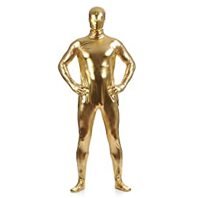 Men's Shiny Metallic Zentai Full Body Suit 41torUrJfiL