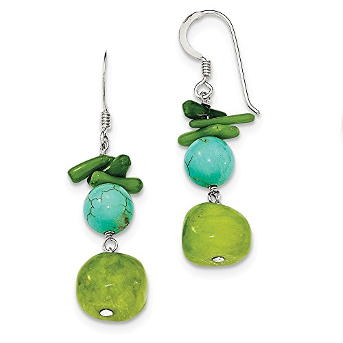 Sterling Silver Jade/Green Coral/Dyed Howlite (Sterling Silver Dyed Green)