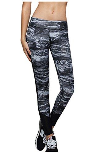 Lotsyle Galaxy Printed Mesh Panels Leggings Workout Running Yoga Pants Gray-S