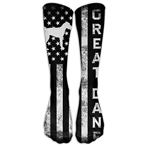 Dane Vintage Colors - Vintage Great Dane American Flag Casual Unisex Sock Knee Long High Socks Sport Athletic Crew Socks One Size
