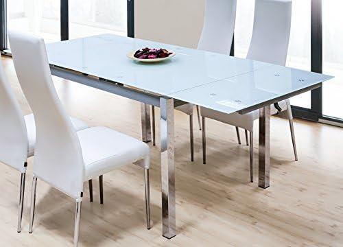 Abitti Mesa para Comedor o Salon Rectangular Extensible de Cristal Templado Color Blanco 120/200x90x78