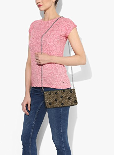 satin for gold Evening clutch flat ladies peach floral black Black embroidered BaTqw5a