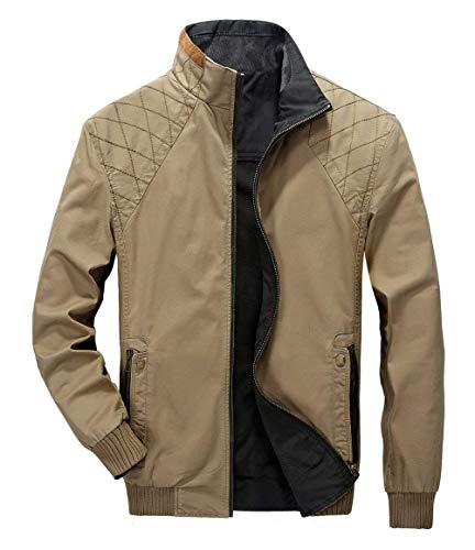 Hombres Chaquetones Casual Emmala Ligero Khaki Collar Formal Abrigos Mens Libre Doble Stand Classic Algodón Cara Peso Al Hombres Chaqueta Estilo Aire Ntel FqwAx7q5