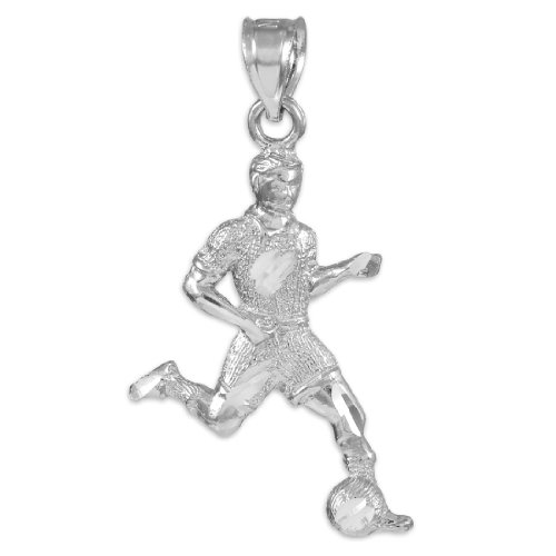 Sterling Silver Soccer Player Futbol Sports Charm Pendant