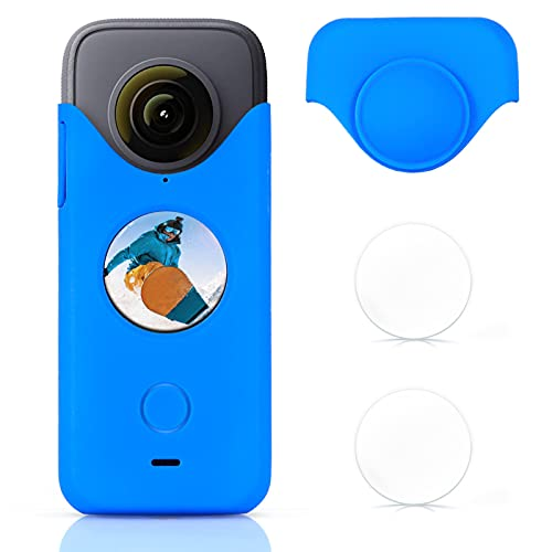 Case for Insta360 One X2 + Tempered Glass Screen Protector Kit, for Insta-360 ONE X2 Silicone Case Protective Sleeve Action Camera Accessories