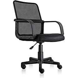 PTO Furniture Mesh Task Chair Ergonomic Office Chair with Breathable Backrest and Padded Seat (Black)