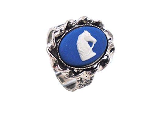 Jasperware Ring - Wedgwood: Silver Toned Blue Jasperware Ring