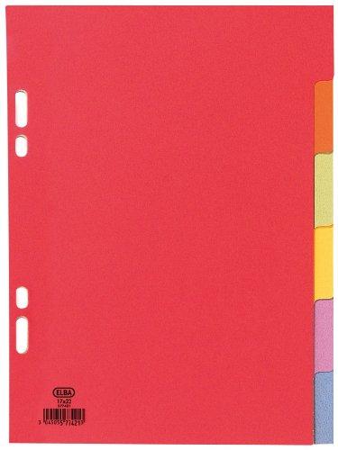 ELBA KartonRegister, blanko, 170 x 220 mm, farbig, 6teilig