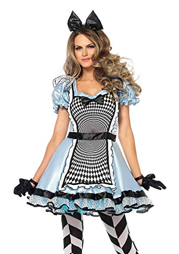 Leg Avenue Women's Hypnotic Alice in Wonderland Halloween Costume, Blue/Black, Medium -