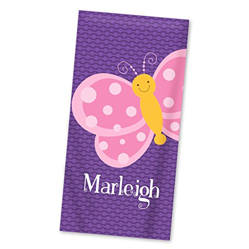 Butterfly Beach Towel - Purple Butterflies Personalized Name Towel ()