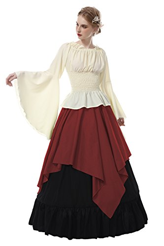 ROLECOS Womens Renaissance Medieval Costume Trumpet Sleeve Peasant Shirt and Skirt Red - Long Trumpet Sleeve