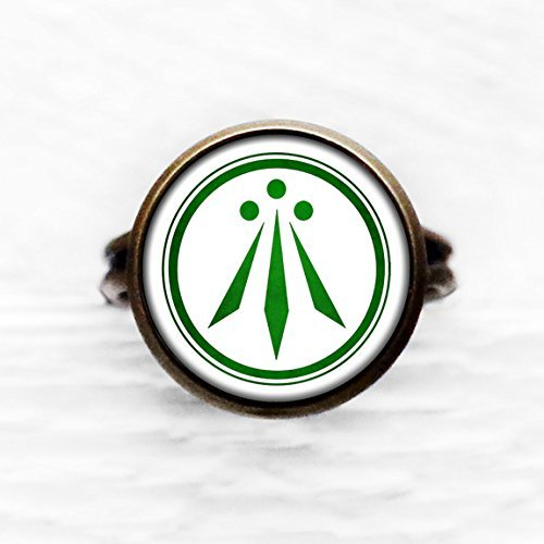 Celtic Symbol - The Awen - Three Rays of Light - Green on White Antique Bronze Adjustable Ring