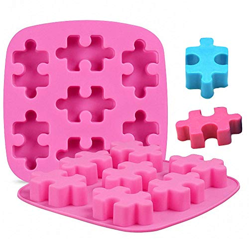 MoldFun 2 Pack Puzzle Piece Silicone Molds for Making Chocolate Candy Gummy Jello Jelly Baking Cake Cookie Mini Soap Resin Wax Crayon Melt Puzzle Ice Cube Tray