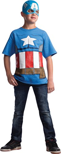 [Marvel Avengers Assemble Captain America Costume T-Shirt with Mask, Large] (Marvel Super Villains Costumes)