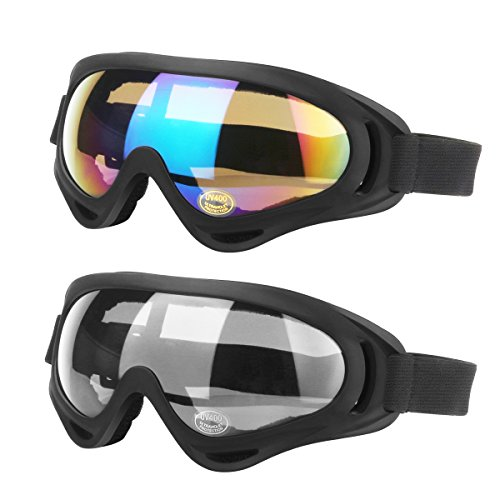 LAOSGE Ski Goggles, 2-Pack Skate Glasses for Kids, Boys & Girls, Youth, Men & Women, with UV 400 Protection, Dustproof and Windproof