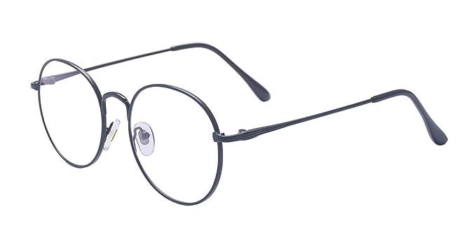 574b216a28 ALWAYSUV Women Men Black Retro Thick Round Rim Prescription Ready Metal  Eyeglasses Frame