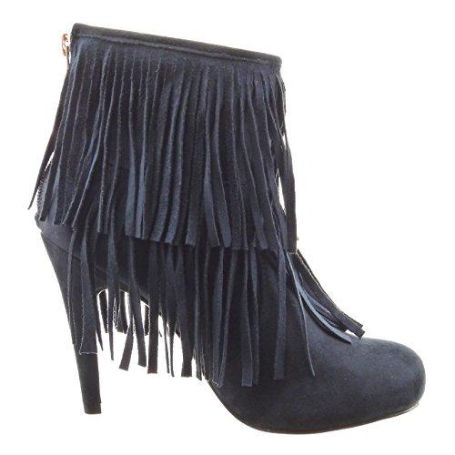 Sopily - Chaussure Mode Bottine Montante femmes frange Talon haut aiguille 11 CM - Bleu