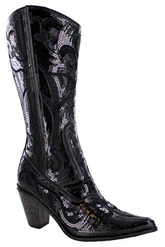 Helens Hjerte Kvinners Gnisten Paljett Bling Fulle Høye Vestlige Cowboy Boots (8, Svart)