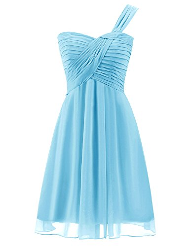 Sweet 16 Dresses Gowns (Sarahbridal Juniors Mine Party Prom Dresses Sweet 16 Chiffon Bridesmaid Gown Sky Blue US6)
