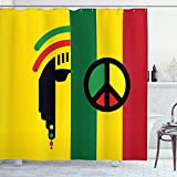 Ambesonne Rasta Shower Curtain, Iconic Barret Reggae and Jamaican Music Culture with Peace and Borders, Cloth Fabric Bathroom Decor Set with Hooks, 75' Long, Red Green