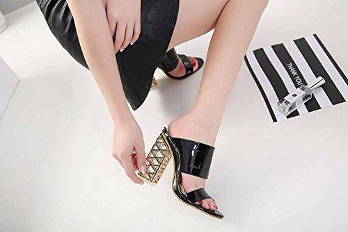 Fashion Slippers Outdoor Crystal Women Black Heel Mules Open High New Sandals Summer Hollow Women Heel Toe wxFP4qUFCT