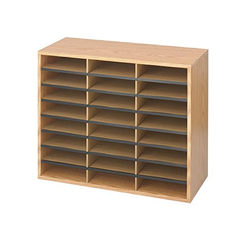 (Safco Products Wood/Corrugated Literature Organizer, 24 Compartment, 9402MO, Medium Oak, Economical Organization, Letter-Size Compartments (Renewed))