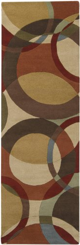 Surya Forum FM-7108 Contemporary Hand Tufted 100% Wool Dark Khaki 2'6'' x 8' Geometric Runner by Surya