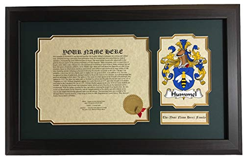 (Hummel - Coat of Arms and Last Name History, 14x22 Inches Matted and Framed)